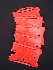 5 x Red Fire/Security SIA Pass/ID Card/Badge Holders For Neck Lanyard/Belt Clips