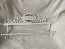 SHABBY CHIC FRENCH FLOWERS METAL WALL MOUNTED TOWEL RAIL WHITE