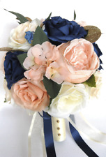 17 piece Wedding Bouquet package Bridal Silk Flowers PEACH BLUSH NAVY BLUE CREAM