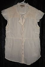 VAC NINE WEST VINTAGE PRE-OWNED IVORY TOP SZ L, IVORY LACE & BEADS ON SHOULDERS