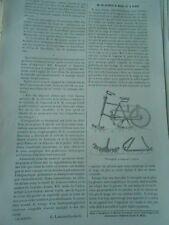Le Vélocipède à Neige et à Glace Gravure Old Print 1893