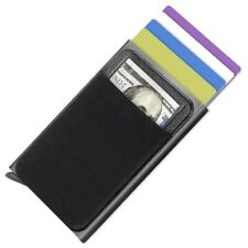 RFID Card Holder Wallet Minimalist Slim Metal RFID Blocking Pop Up Wallets Black