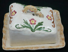OLD HAND PAINTED, SPONGEWARE POTTERY CHEESE DISH & COVER, STAFFORDSHIRE?