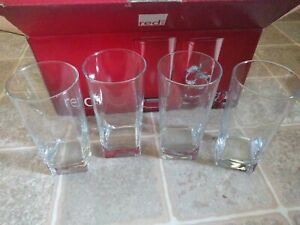 16oz Square base Highball Beverage clear Drinking Glasses (Set of 4) Red series