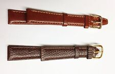 2 NEW 14MM  GENUINE LEATHER WATCH BANDS-1 DARK AND 1 LIGHT BROWN LOW PRICE