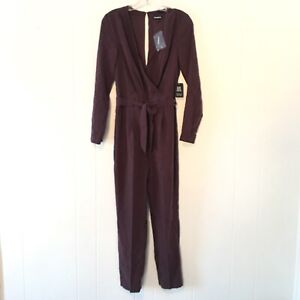 Express Womens Small Jumpsuit Romper Long Sleeves Pants V Neck Back Purple NEW