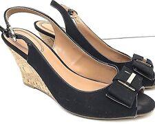 Tommy Hilfiger Taylan Peep Toe Bow Slingback Cork Wedge Sandal Black Size 7 M