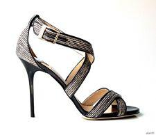 new $795 JIMMY CHOO 'Lottie' black GLITTER X-strap logo buckle shoes 38.5 8.5