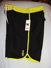 MAMBO AUSTRALIA, UNLINED BOARD SHORTS SIZE-XLARGE, BLACK/LIME-NEW-WITH-TAGS
