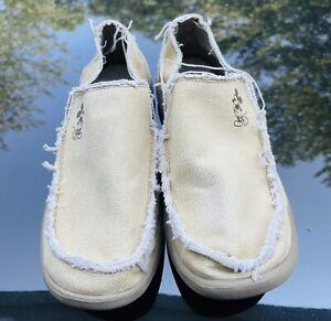 Crocs Santa Cruz Men's Mickey Loafers Khaki Boat Shoes Disney Canvas Size US 10