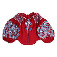 Ukrainian embroidered linen red blouse boho - folk ethnic vyshyvanka. All sizes