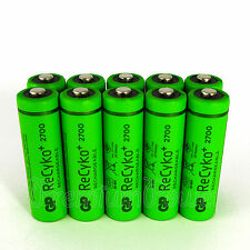 10 x GP ReCyko+ AA batteries 2700 Series rechargeable 2600mAh 1.2V NiMH HR6 LR6