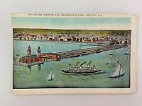 New Municipal Pier East Grand Ave Chicago Illinois Vintage Postcard Ship