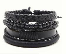 Bracelet noir en Cuir Punk Vintage Homme Femme Leather Bracelet Armband