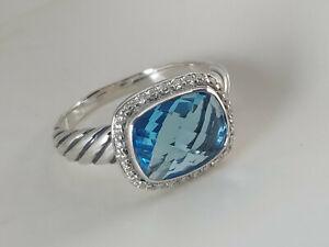 David Yurman Sterling Silver 9x12mm Blue Topaz Noblesse Diamonds Ring, size 7