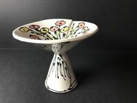 Mid Century Folded Ceramic Footed Dish Abstract Flowers Glazed Stamped Pottery