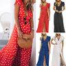 Womens Boho Polka Dot Dress Party Cocktail Summer Ladies Clubwear Long Sundress