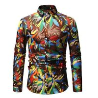 Casual slim fit long sleeve luxury stylish floral tops t-shirt men's dress shirt