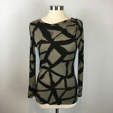 Simply Vera by Vera Wang Women's Brown Longsleeve Abstract Print Tee Size XS