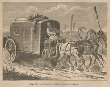A4983 Tarantas - Carro russo da viaggio - Xilografia Antica del 1895 - Engraving