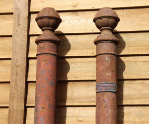 Large Pair of Victorian Rounded Cast Iron Gateposts - Teale & Somers  - WillMow