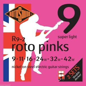 Rotosound R9-2 Double Decker Roto Pink Electric Guitar Strings 09-42 2 x SETS