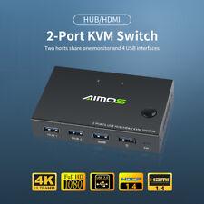 AIMOS 2-Port HDMI KVM Switcher 4K*2K@30Hz HDMI KVM Switch Tastatur Maus USB O2S8