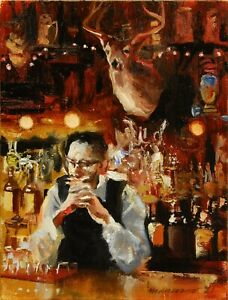 """Signed original oil painting on stretched canvas """"Pensive Bartender"""" 8x6"""
