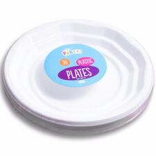 "36 STRONG WHITE PLASTIC DINNER PLATES 7"" Party Round Lipped Disposable Tableware"