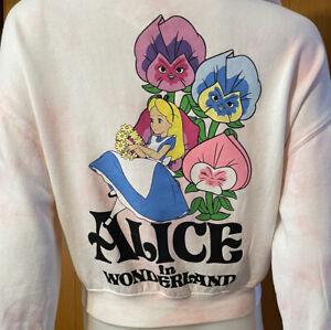 Disney Alice In Wonderland Flower Tie-Dye Crop Sweatshirt Embroidered Hoodie S
