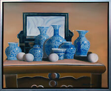 Henri Gautier *1955: Keramikstilleben auf Kommode Öl-Malerei Leinwand 50 x 60 cm