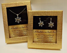 Angel's Kiss Snowflake Necklace & Earrings with Austrian Crystal Set in Gift Box