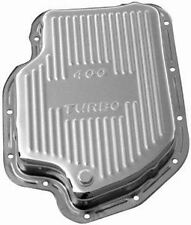 Chevy 400 Stock Depth Shallow Chrome Transmission Pan with Drain Plug
