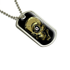 Eight Ball Skull - Billiards Pool - Military Dog Tag Keychain