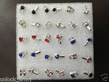 The Lock & Key Swarovski Crystal Handmade Stud Earrings Mix colors 15 Pairs A48