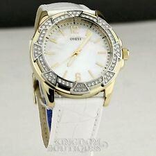 Nuevo Y Elegante 100% Original Reloj Guess De Cuero Blanco Clásico señoras