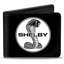 Men Wallet Bifold Ford Mustang SHELBY Tiffany Split Signature Black White Logo