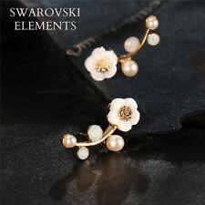 boucles d'oreilles percing swarovski Elements fleur perles blanches qualité doré