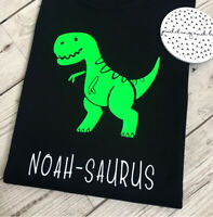 Kids Personalised Dinosaur T-Shirt  Boys Girls T-Shirt Birthday Kids Tee Top