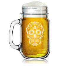 16oz Mason Jar Glass Mug Sugar Candy Skull