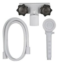 "4"" Tub And Shower Diverter Faucet White/Smoke With Shower Head & Hose For RVs"