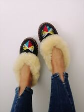 Sheepskin Slippers Moccasins Genuine Leather 100%Wool Natural Cream