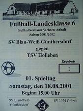 Programm 2001/02 Blau Weiß Günthersdorf - TSV Holleben