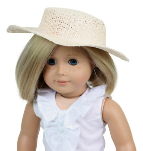 """Summer Straw Hat Ivory made for 18"""" American Girl Doll Clothes"""