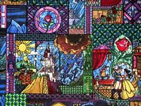 DISNEY FABRIC BEAUTY & THE BEAST STAINED GLASS  BELLE  100% COTTON   BY THE YARD