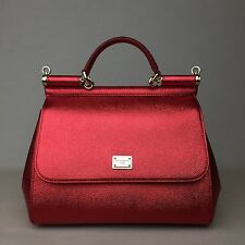 New DOLCE & GABBANA Miss Sicily Medium Red Metallic Bag Handbag Purse Tote