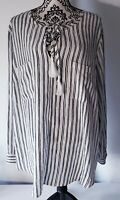 Tart Womens Plus Size 2X Navy & White Striped Top Blouse