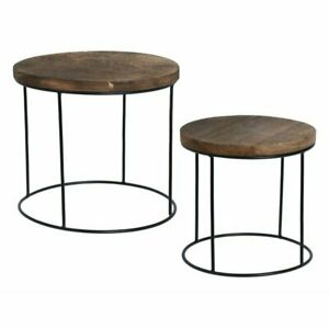 Home and Styling 2 Piece Nest of Tables Natural Brown Manufactured Wood Metal