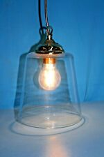 Ceiling Light. Large Modern Tapered Glass Shade with Brass Spinning & Loop