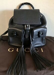 Gucci Black Leather Bamboo Tassel Backpack Handbag  Medium Pebbled Tote Bag